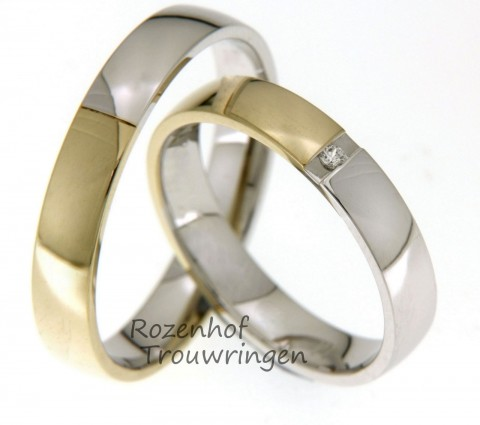 Bicolor trouwringen met diamant