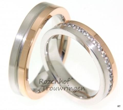 Contrastrijke trouwringen met diamanten. Het warme roodgoud in contrast met het koele witgoud geeft deze 5 mm brede ring een bijzondere uitstraling. De dames trouwring is bezet met een fonkelende rij briljant geslepen diamanten van in totaal 0,8 ct.