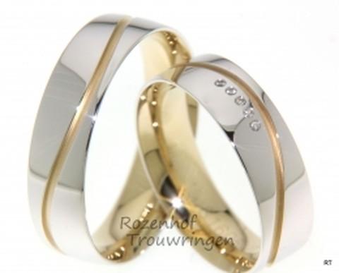 <p>Glanzende witgouden trouwringen van 6 mm. breed. De subtiele golf van mat geelgoud geeft deze ringen iets verfijnds. In de dames trouwring zijn 5 briljant geslepen diamanten verwerkt van 0,028 ct.</p>