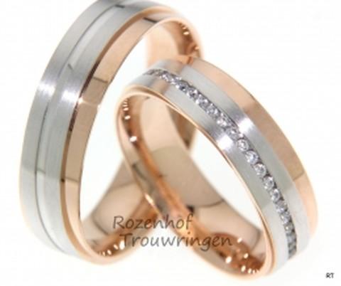 Prestigieuze trouwringen in twee kleuren met diamanten