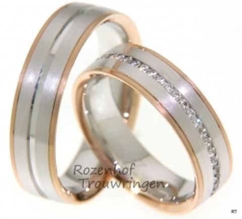 Chique trouwringen opgebouwd uit roodgoud en witgoud met gematteerde finish. De ringen zijn 6 mm breed. De dames trouwring is bezet met een schitterende rivier van briljant geslepen diamanten van in totaal 0,36 ct.