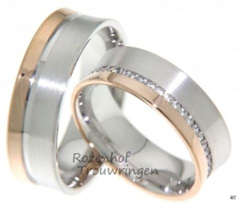 Zeer stijlvolle, 7 mm brede, bicolor trouwringen. De ringen zijn vervaardigd uit een smallere baan roodgoud en een brede baan witgoud. Beide met een matte finish. In de dames trouwring loopt een ader van fonkelende, briljant geslepen diamanten van in totaal 0,353 ct.