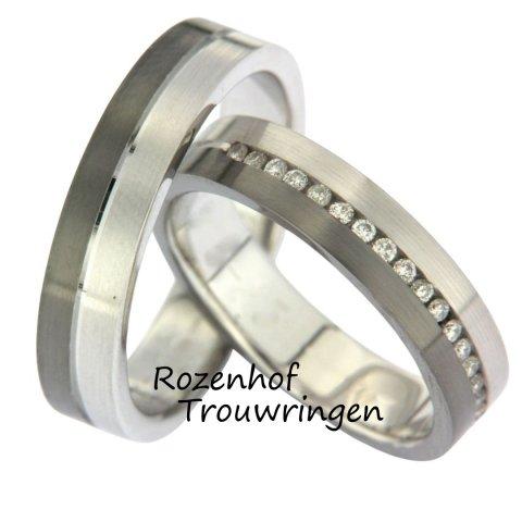 Fashionable ring van witgoud en ruthenium