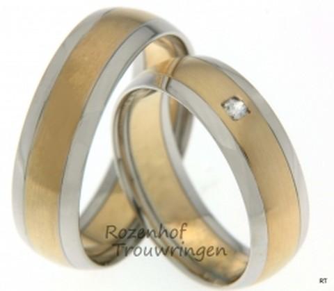 Bicolor trouwringen wit en rood goud van 6,5 mm breedte met 1 briljant geslepen diamant van 0,04 ct