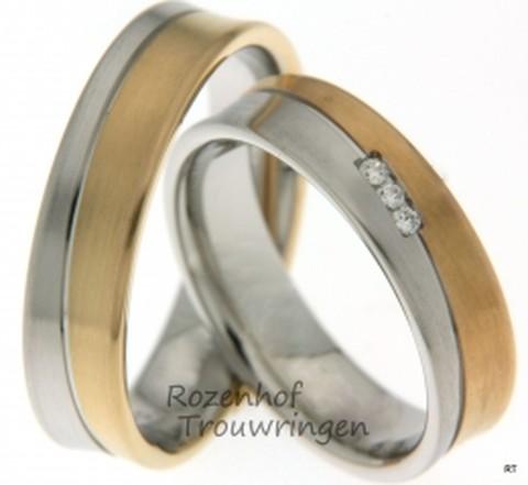 Stijlvolle, bicolor trouwringen wit en rood goud van 5,5 mm breedte met 3 briljant geslepen diamant van in totaal 0,045 ct