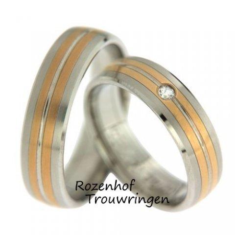 Tijdloze, tweekleurige trouwringen met diamant, welke een breedte hebben van 6 mm. De banen van roodgoud en witgoud wisselen elkaar af. De ring is zowel mat als glanzend afgewerkt. In de dames trouwring is een briljant geslepen diamant van 0,055 ct gezet.