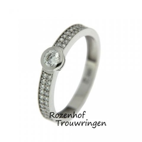 Schitterende verlovingsring van 3 mm breed. De verlovingsring is indrukwekkend bezaaid met 36 kleinere diamanten van 0,005 ct en 1 fonkelende grote diamant van 0,25 ct. Een lust voor het oog!