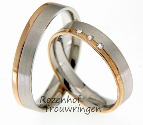 Deze bicolor trouwringen zijn redelijk neutraal en zijn vervaardigd uit witgoud en roodgoud. De ringen hebben een breedte van 4.5 mm en zijn op twee manieren afgewerkt: het grootste gedeelte is gematteerd witgoud, en het bovenste randje is gepolijst roodgoud. Verder bevindt zich één diamant in de damesring. Deze ringen voldoen aan veel trends en past perfect bij iedereen!