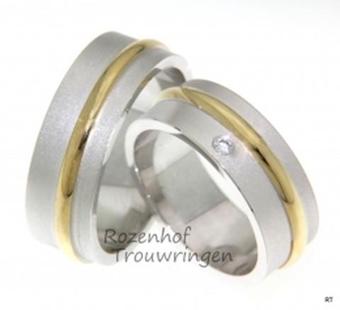Speciale, bicolor trouwringen met diamant
