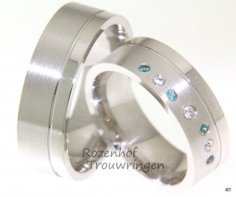 Witgouden trouwring met gekleurde diamanten