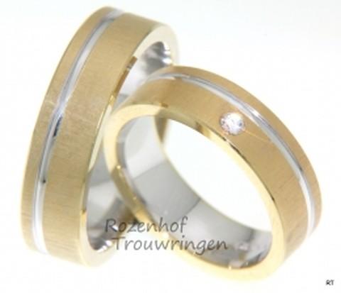 Bicolor trouwringen met juweel van een diamant. De ringen zijn 6 mm breed. In de dames trouwring is een briljant geslepen diamant van 0,04 ct gezet.