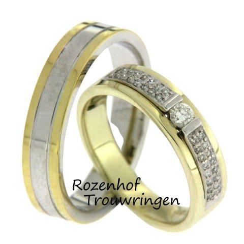 Exclusieve trouwringen met sjieke uitstraling door het kleurgebruik en de plaatsing van 33 briljant geslepen diamanten van 0,228 ct in de dames trouwring. De ringen zijn vervaardigd uit witgoud en geelgoud en zijn 5,5 mm breed.