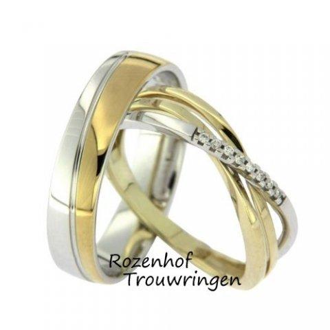 Deze prachtige trouwringen zijn vervaardigd uit wit- en geelgoud. De damesring is bezet door maar liefst 8 diamantjes van ieder 0,005 ct. De diamanten zijn briljant geslepen en liggen centraal in de ring. Deze ringen zijn klaar om gedragen te worden door een liefdevol en gelukkig stelletje! De trouwringen zijn leverbaar in 9, 14 en 18 karaat goud.