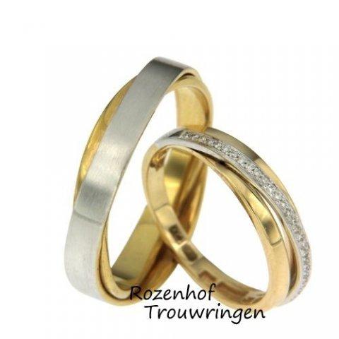 Deze prachtige trouwringen zijn uitgevoerd in wit- en geelgoud. De herenring ring bestaat uit twee lagen die schuin over elkaar heen lopen. De damesring is belegd met wel 32 diamanten van iedere diamant 0,0025 ct. Deze diamanten zijn briljant geslepen. Deze trouwringen zijn leverbaar in 9, 14 en 18 karaat goud.