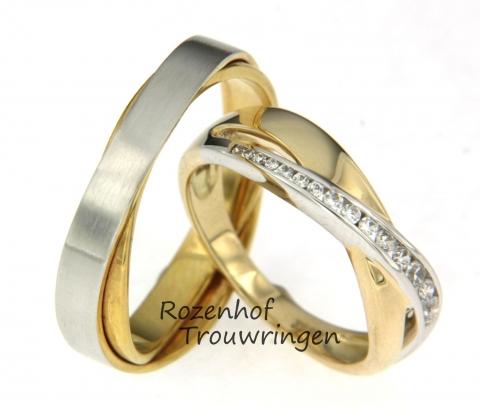Deze samengestelde trouwringen zijn uitgevoerd in wit- en geelgoud. De damesring heeft in het witgouden deel wel 15 diamanten die van klein naar groot lopen. De herenring bestaat uit twee lagen, dat zorgt voor een draaiend effect. Deze trouwringen zijn leverbaar in 9, 14 en 18 karaat goud.