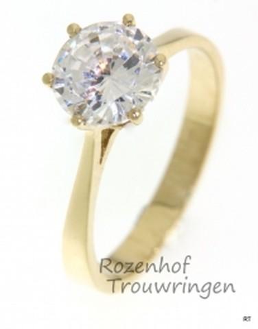 Geelgouden verlovingsring met 1 schitterende diamant, briljant geslepen. De briljant is tussen 6 zetpoten geplaatst.