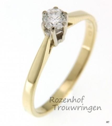 Geelgouden solitair verlovingsring met diamant