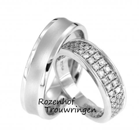 Schitterende trouwringen met vele diamanten