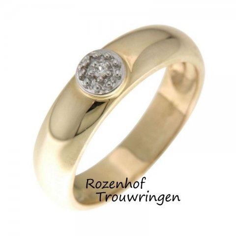 Glanzende, bicolor verlovingsring van 5 mm breed. Verzonken in de ring is als een verborgen schat een briljant geslepen diamant gezet.