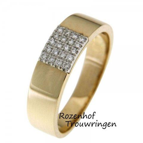 Glanzende, geelgouden verlovingsring van 5,6 mm breed bezaaid met een sprankelend veld van 20 briljant geslepen diamanten van in totaal 0,17 ct.