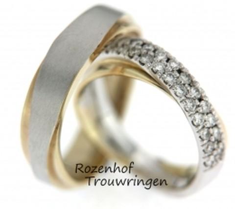 Exclusieve trouwringen van geel- en witgoud met diamanten
