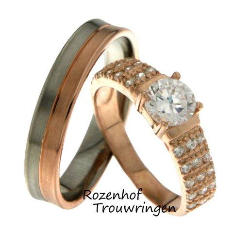 Sensationele trouwringen van wit- en roodgoud met schitterende diamanten