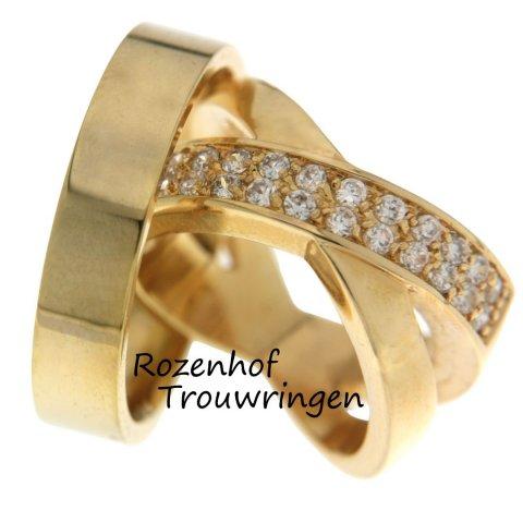 Exclusieve trouwringen van geelgoud met diamanten