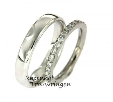 Glanzende diamanten damesring met neutrale herenring