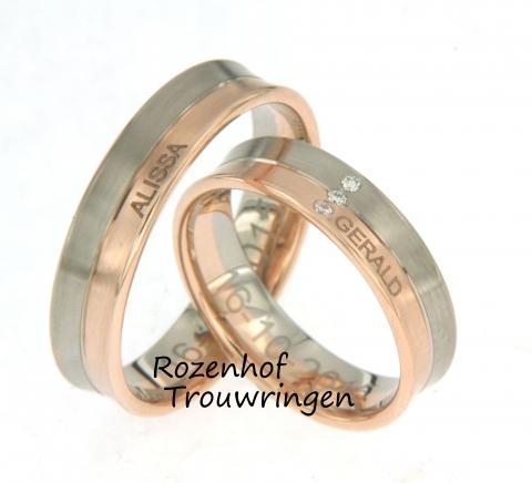Rozenhof Trouwringen biedt ook de mogelijkheid om samen met ons aan de slag te gaan om jullie trouwringen te personaliseren. Bij deze trouwringen is dit ook gebeurd, hierin is de naam van uw geliefde aan de buitenkant van de ring gegraveerd. Erg uniek!