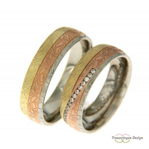 Driekleurige trouwringen
