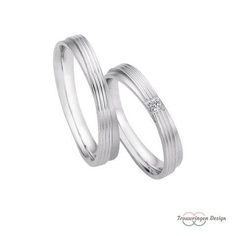 Zilveren twist trouwringen